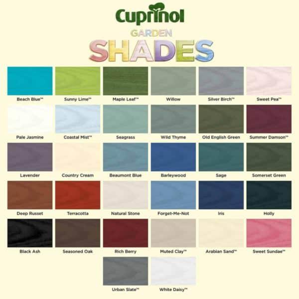 Cuprinol Garden Shades colour chart
