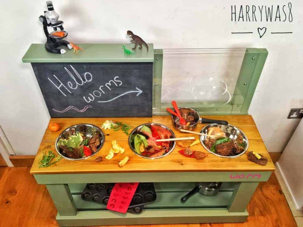 Large play kitchen chalkboard and wormery