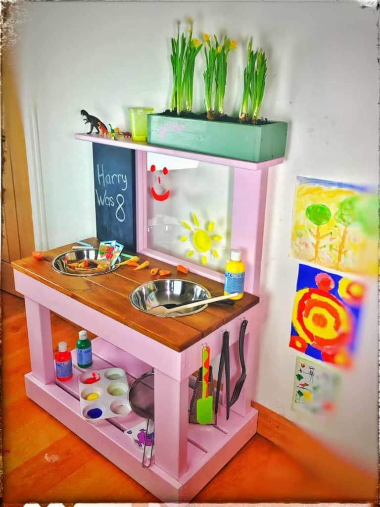 Play kitchen medium size with art easel and blackboard