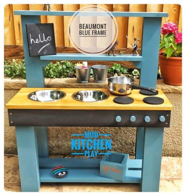Beaumont Blue Mud Kitchen with chalkboard