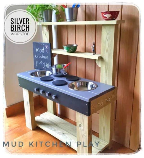 Exmouth Mud Kitchen silver birch worktop