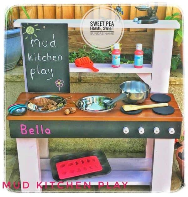 Mud Kitchen big chalkboard in Sweet Pea