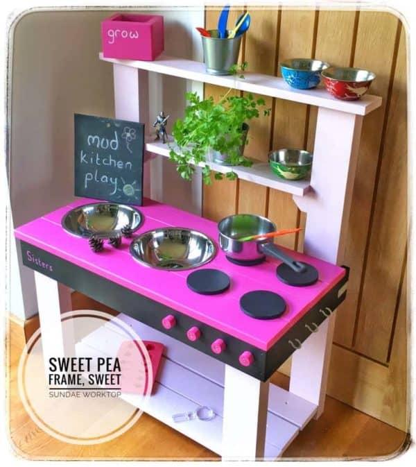 Mud Kitchen 4 Hobs Sweet Sundae Worktop
