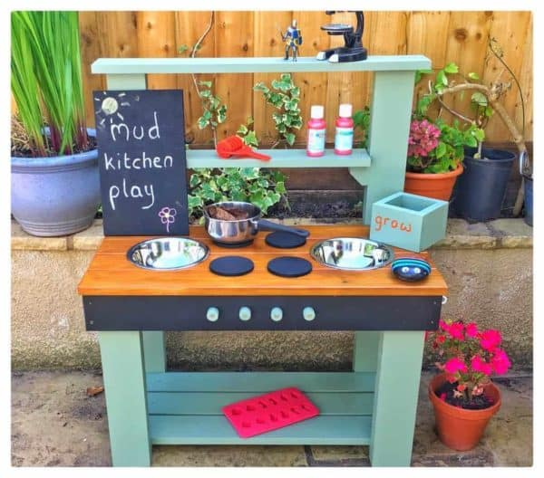 Mud Kitchen outside painted Willow