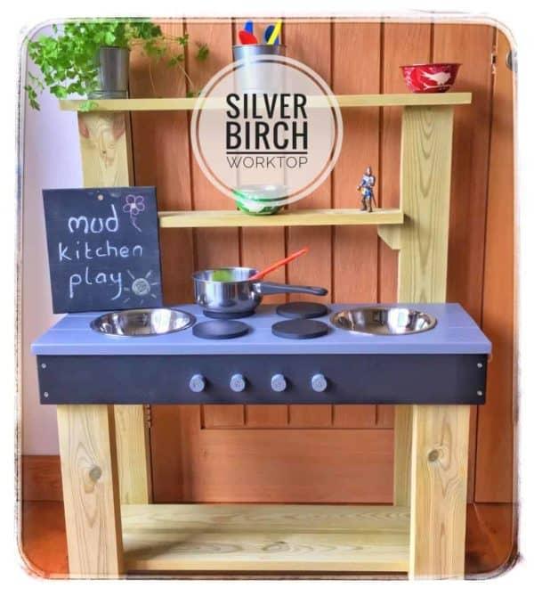 Mud Kitchen with Silver Birch worktop